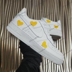 Custom Nike Air Force 1 Custom Hearts White Yellow